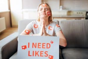 Young Woman Has Social Media Addiction. Addictiveness From Smartphones. Model Begging For Likes. Instagram